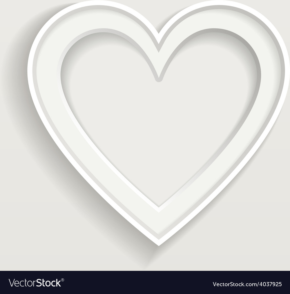 White frame in heart shape on clear background vector