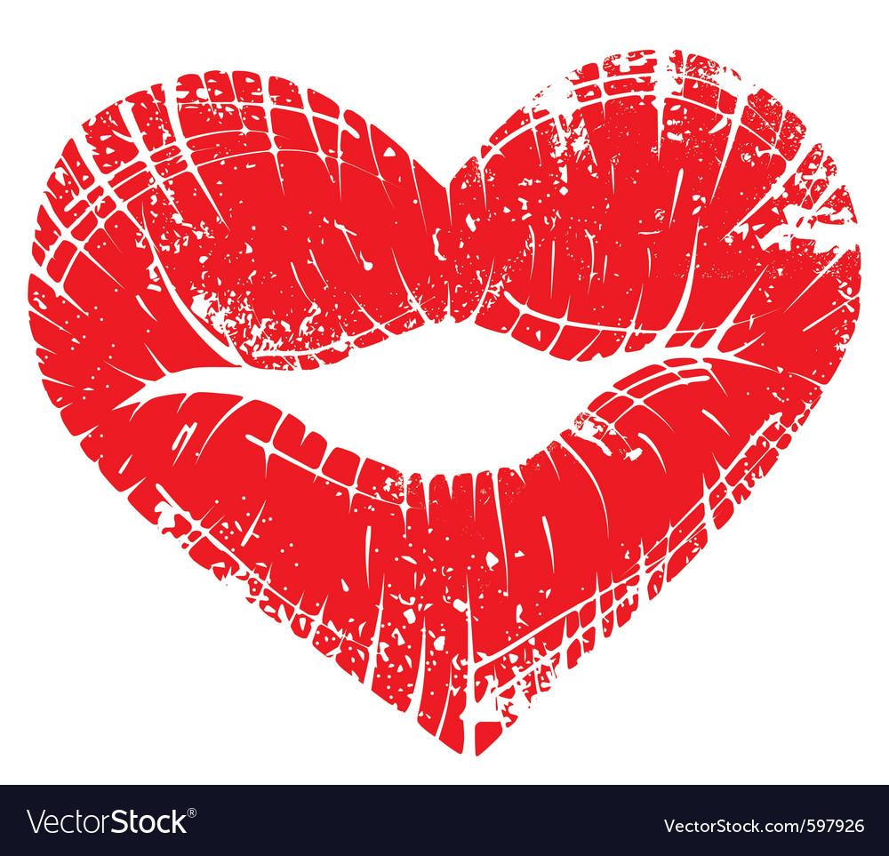 Lip print heart vector