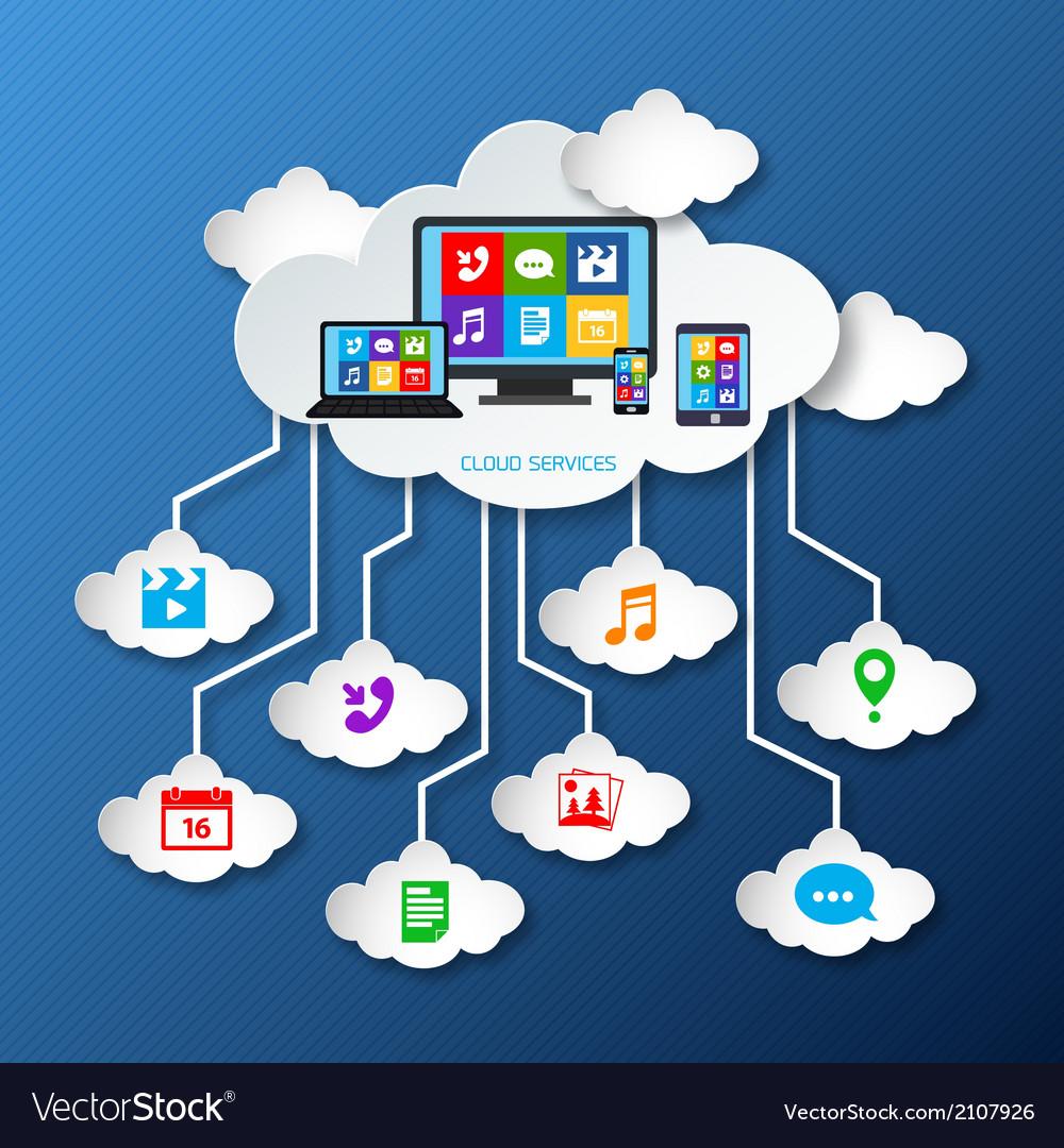 Mobile services cloud paper vector