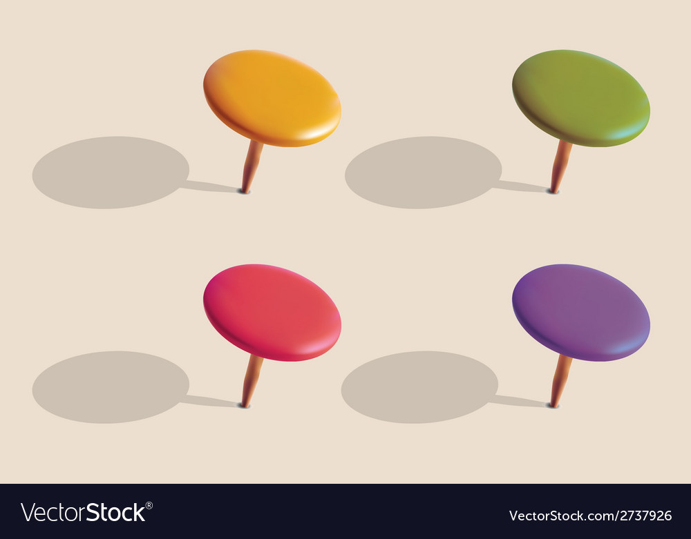 Set of color pins vector