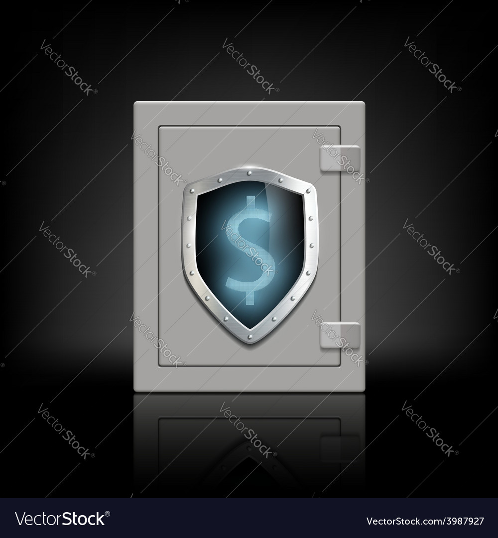 Metal safe with a shield which shows the dollar vector
