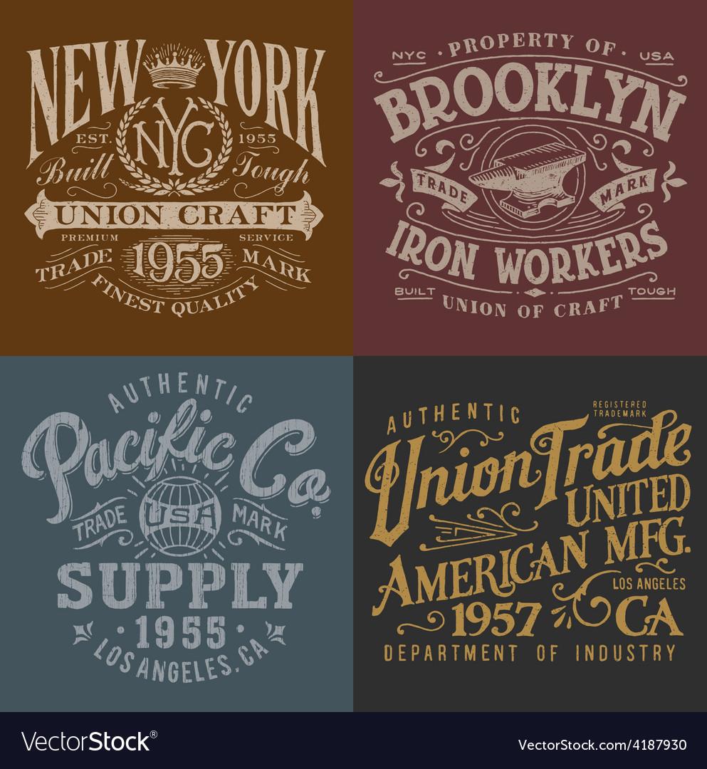 Vintage workwear graphics set vector