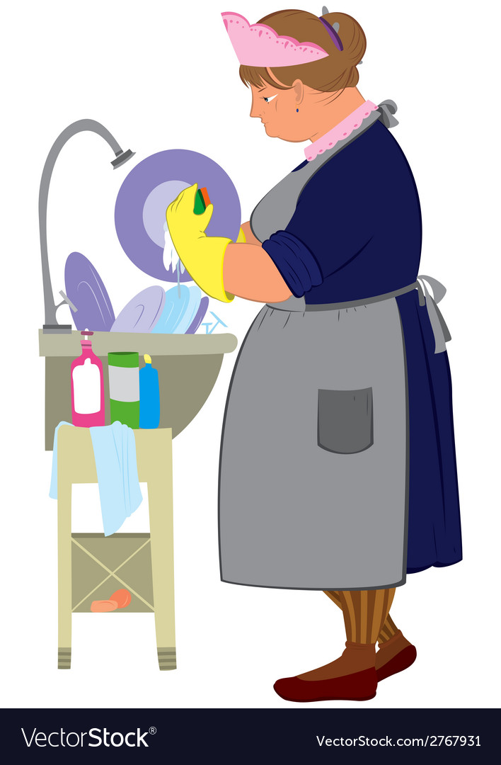 Cartoon woman in yellow gloves doing dishes vector