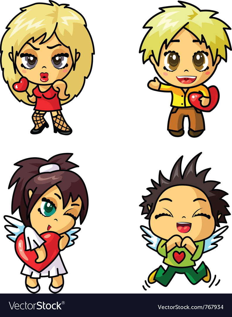 Cute chibi icons set with valentine symbol part 2 vector