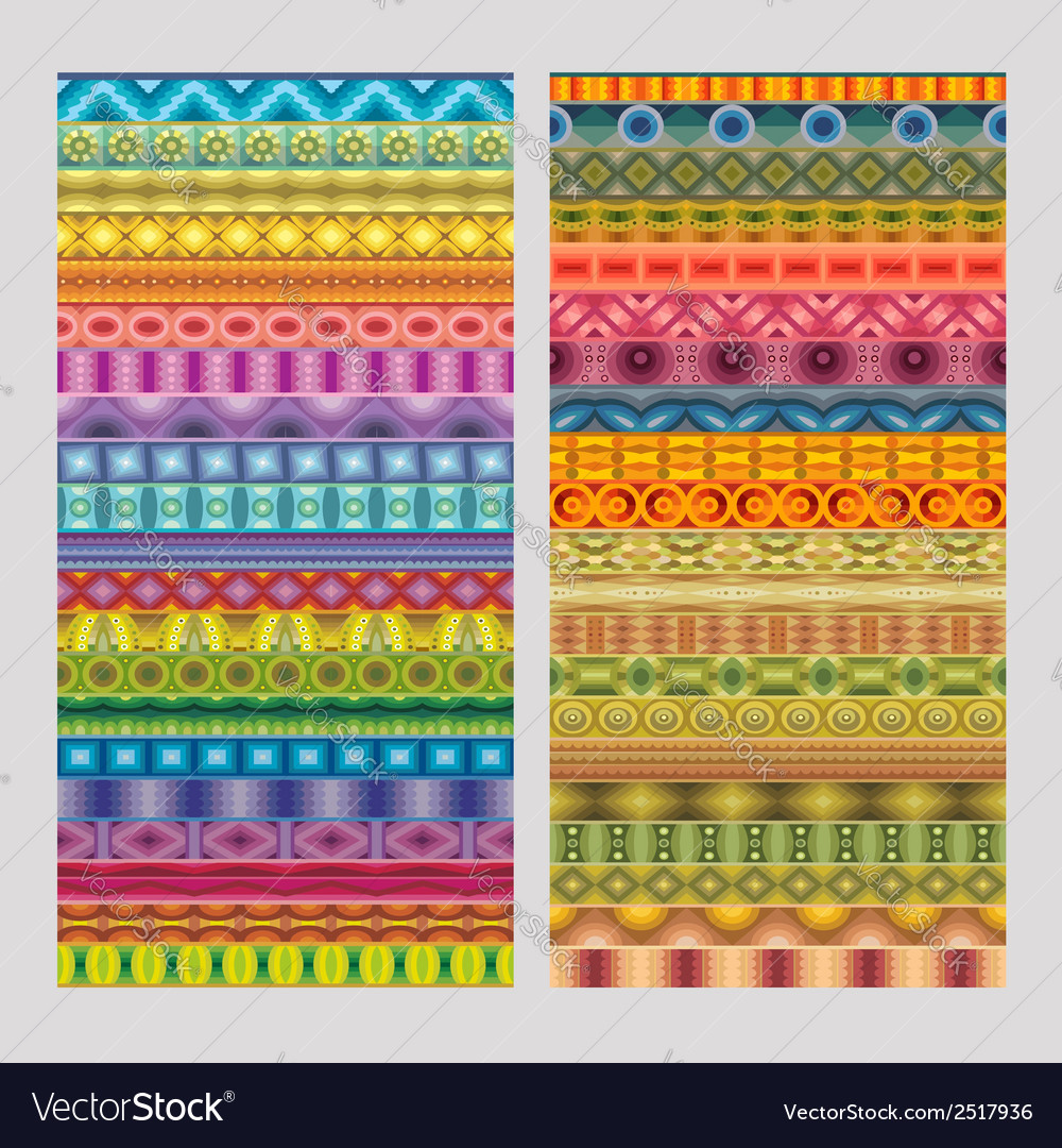 Abstract ethnic geometric strip patterns vector