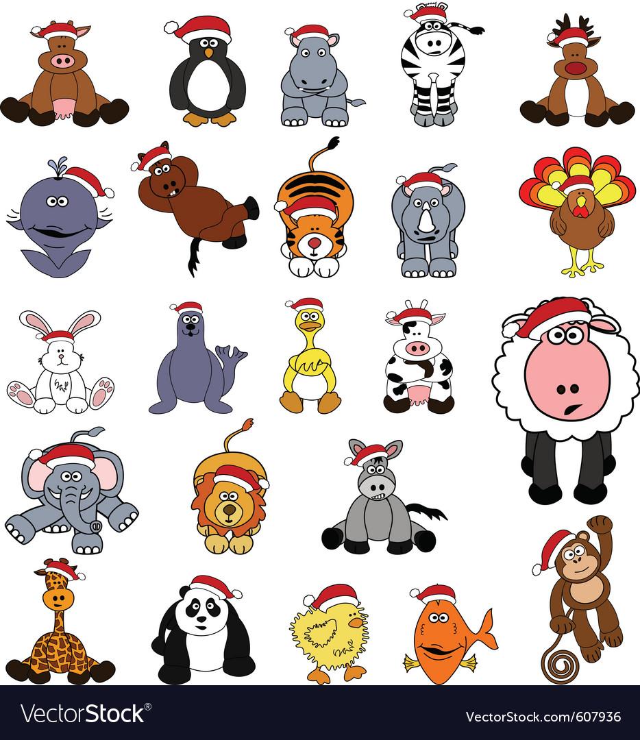 Cute christmas animal set vector