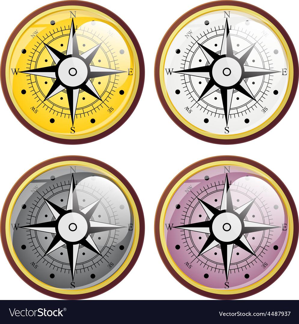 Set wind rose compass flat symbols vector