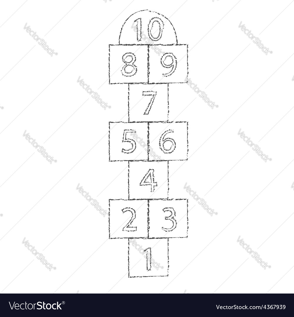 White hopscotch drawn with chalk vector