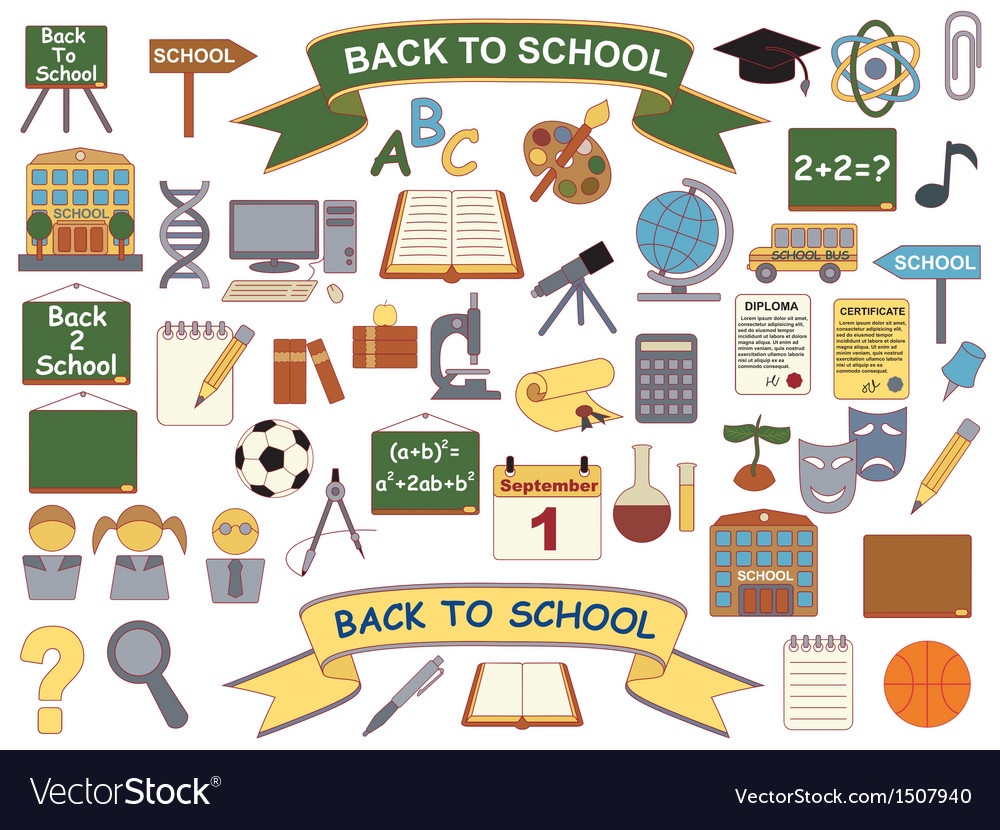 Back to school icons vector