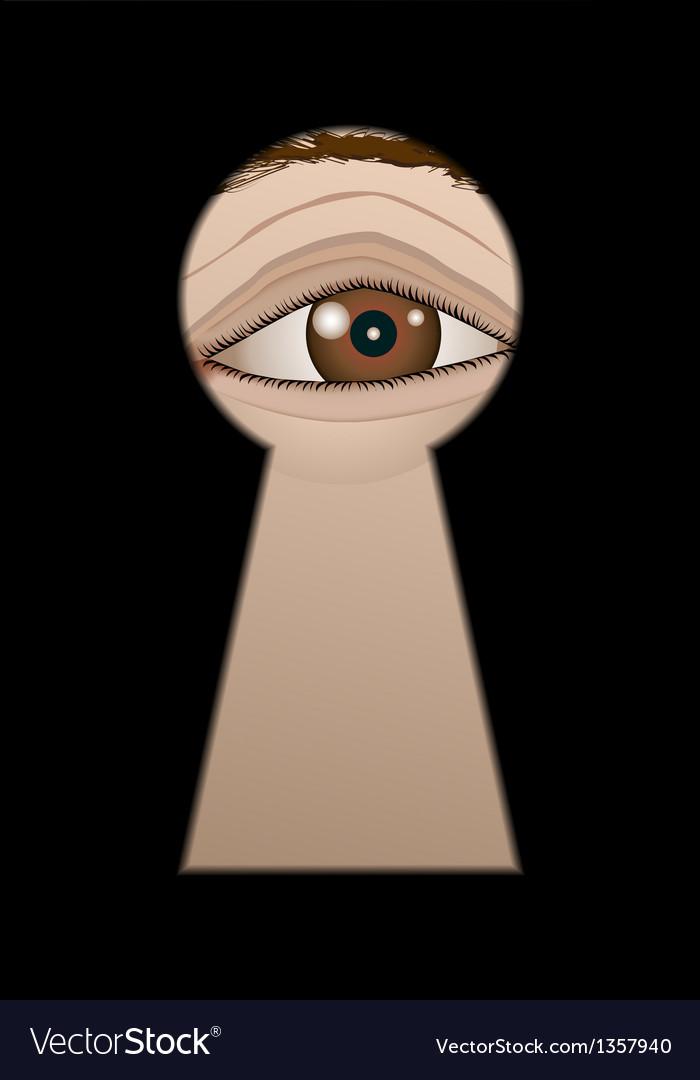 Eye behind a keyhole vector
