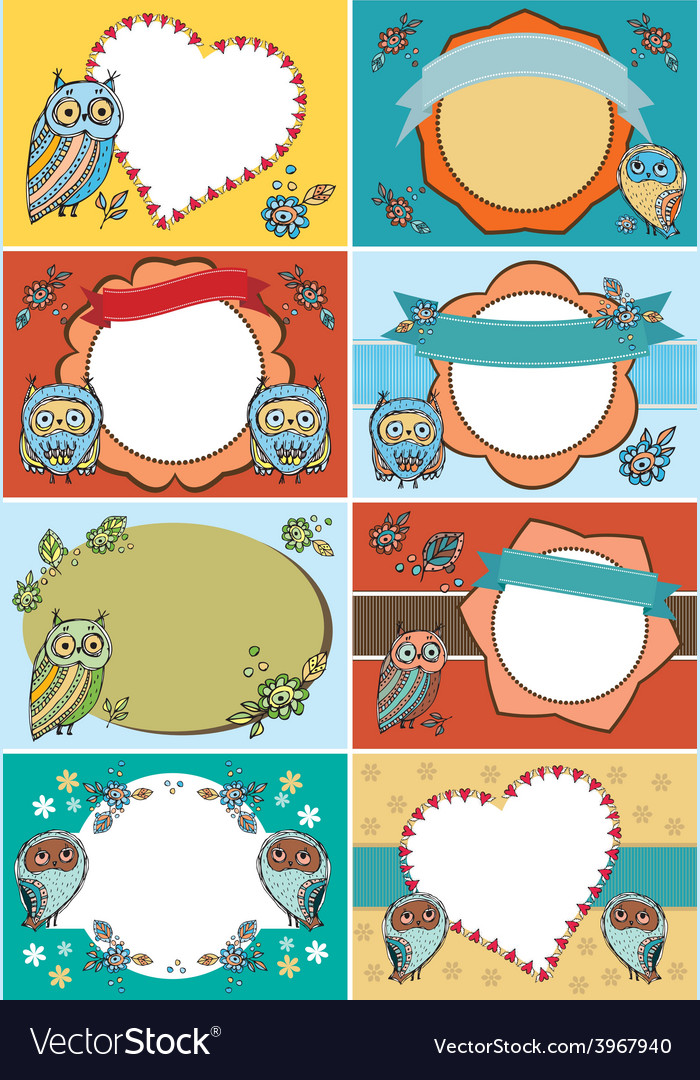 Set of greeting cards funny owl flowers vintage vector