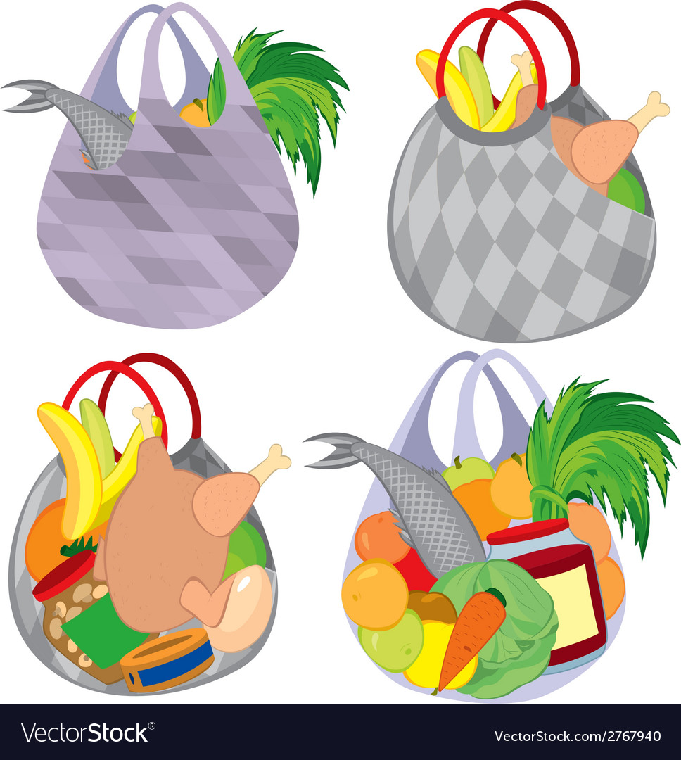 Set of plastic transparent shopping bags filled vector
