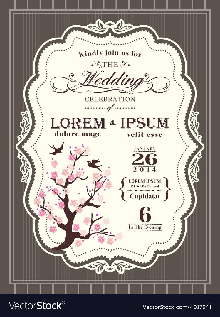Vintage cherry blossom wedding invitation card vector