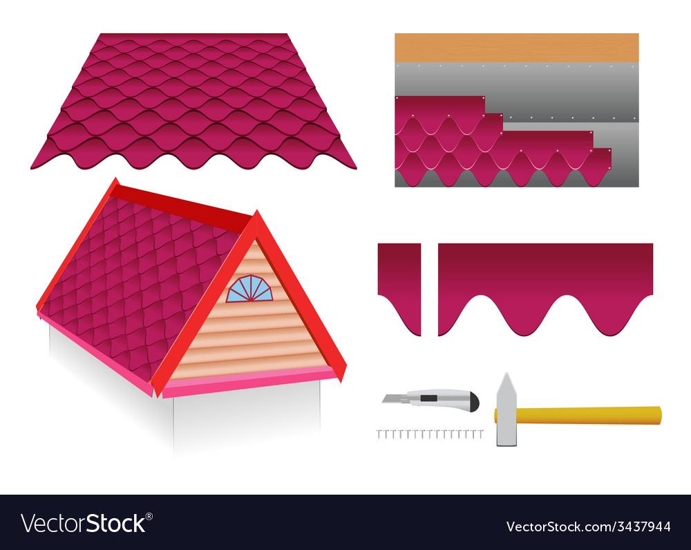 Soft tile roof vector
