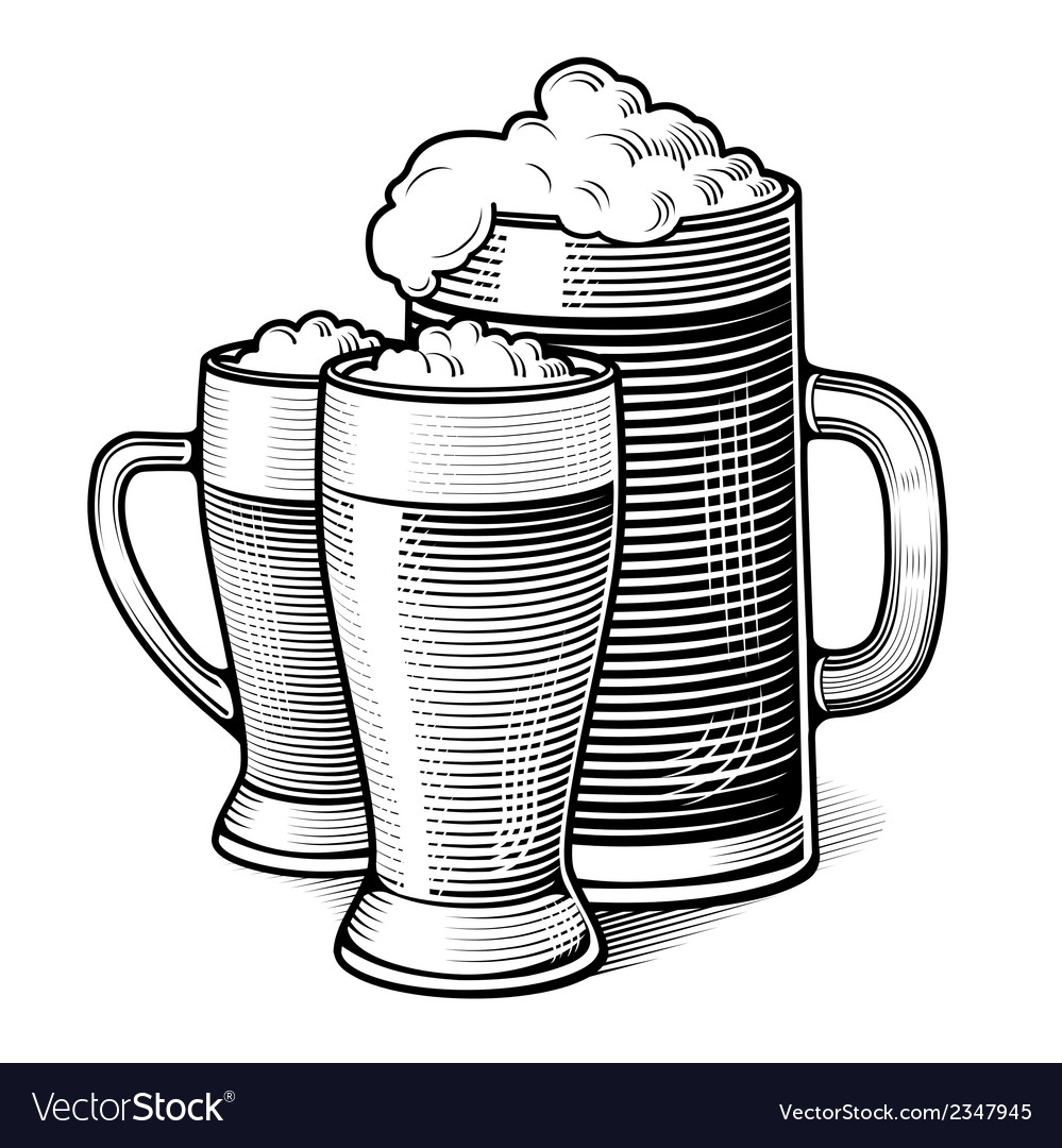 Engraved beer glasses vector