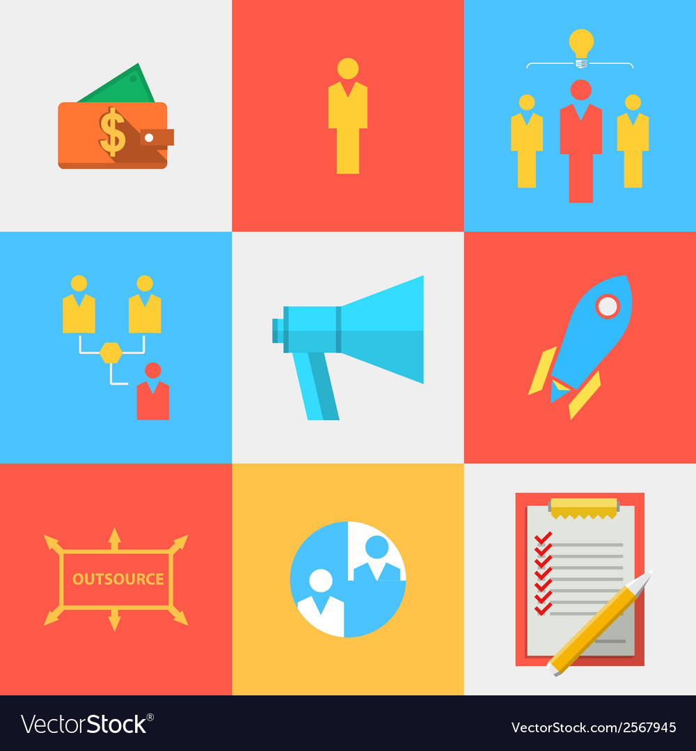 Flat icons for outsource team vector