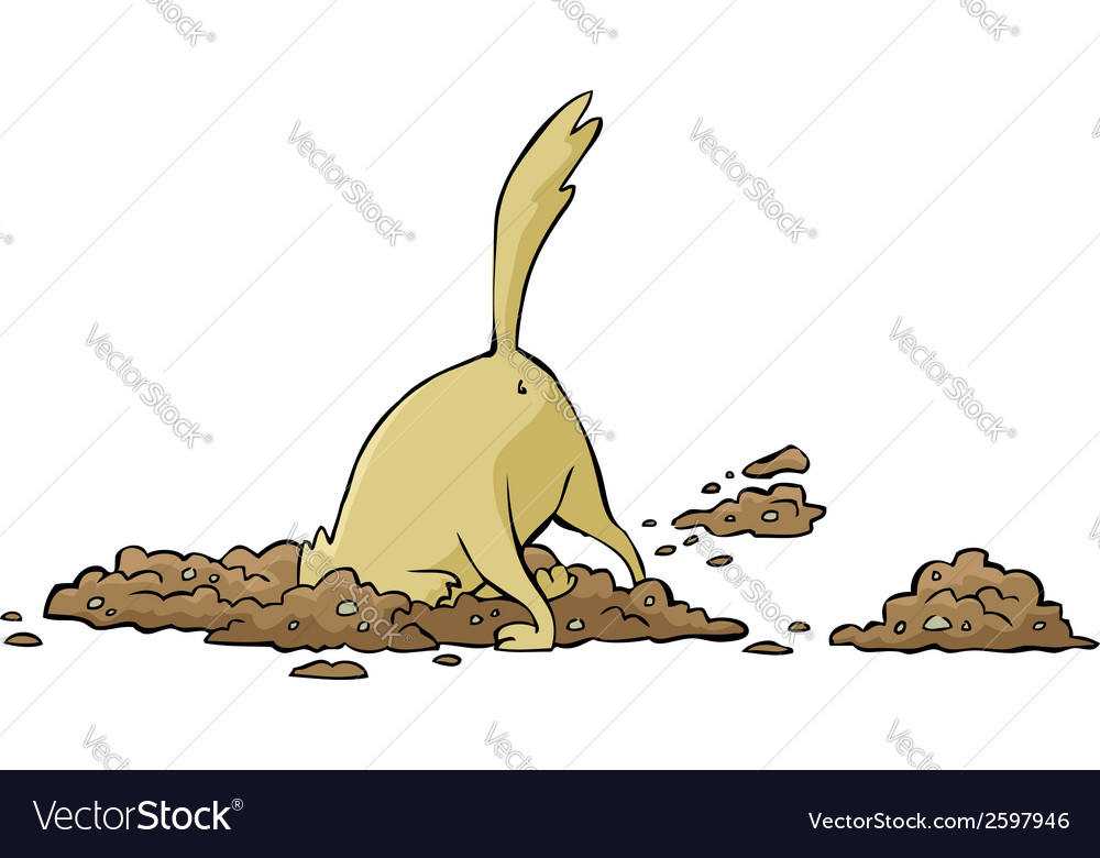 Dog digging a hole vector