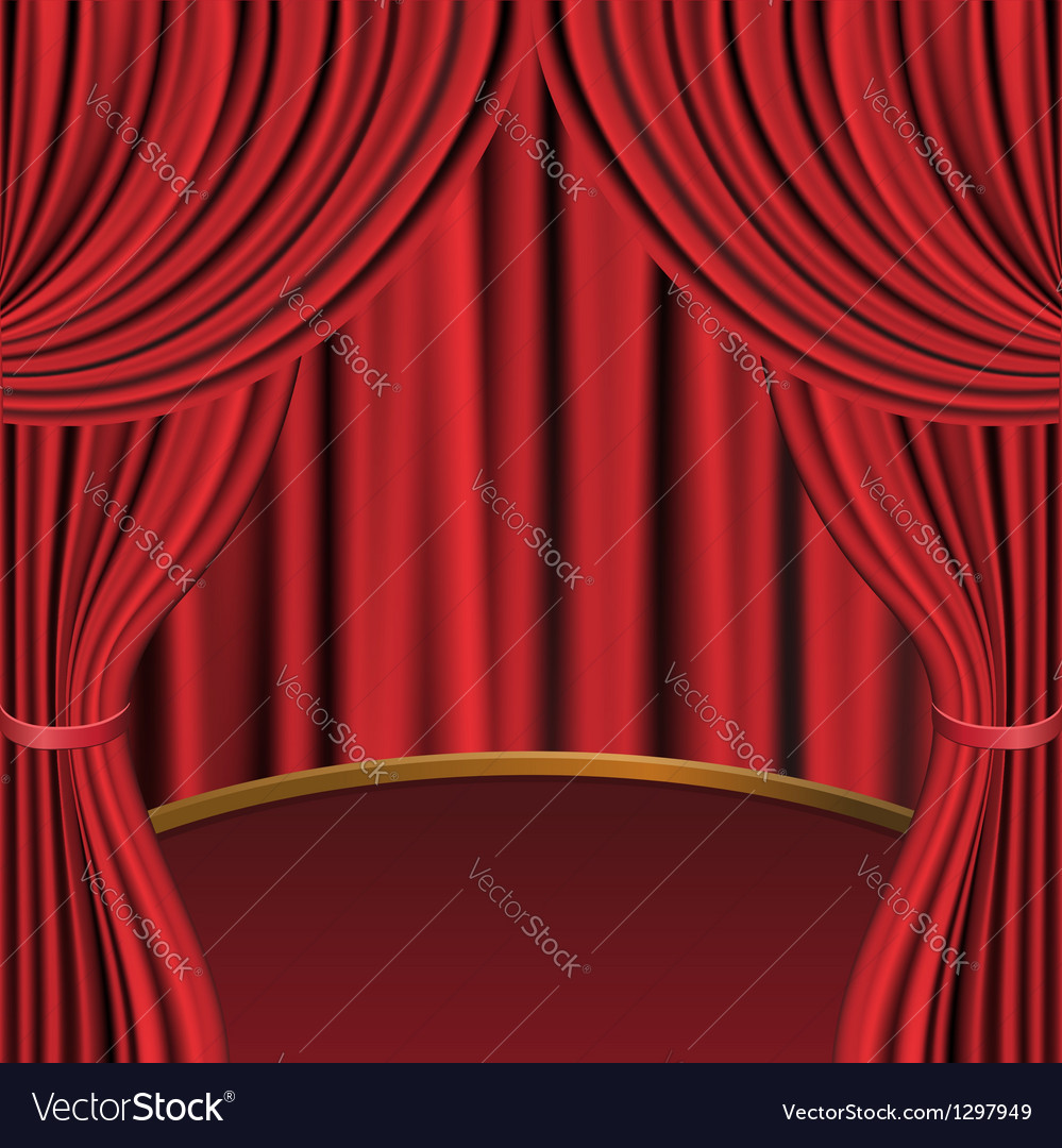 Red curtains and stage vector