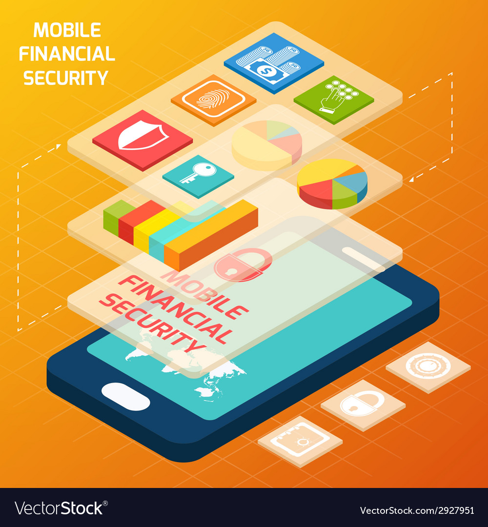 Isometric financial secure set vector
