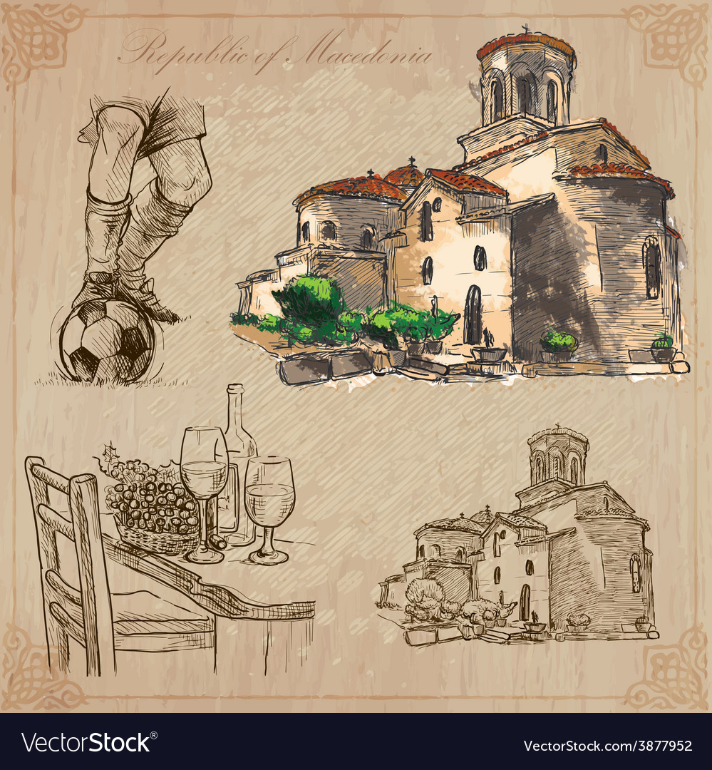 Macedonia hand drawn pack vector