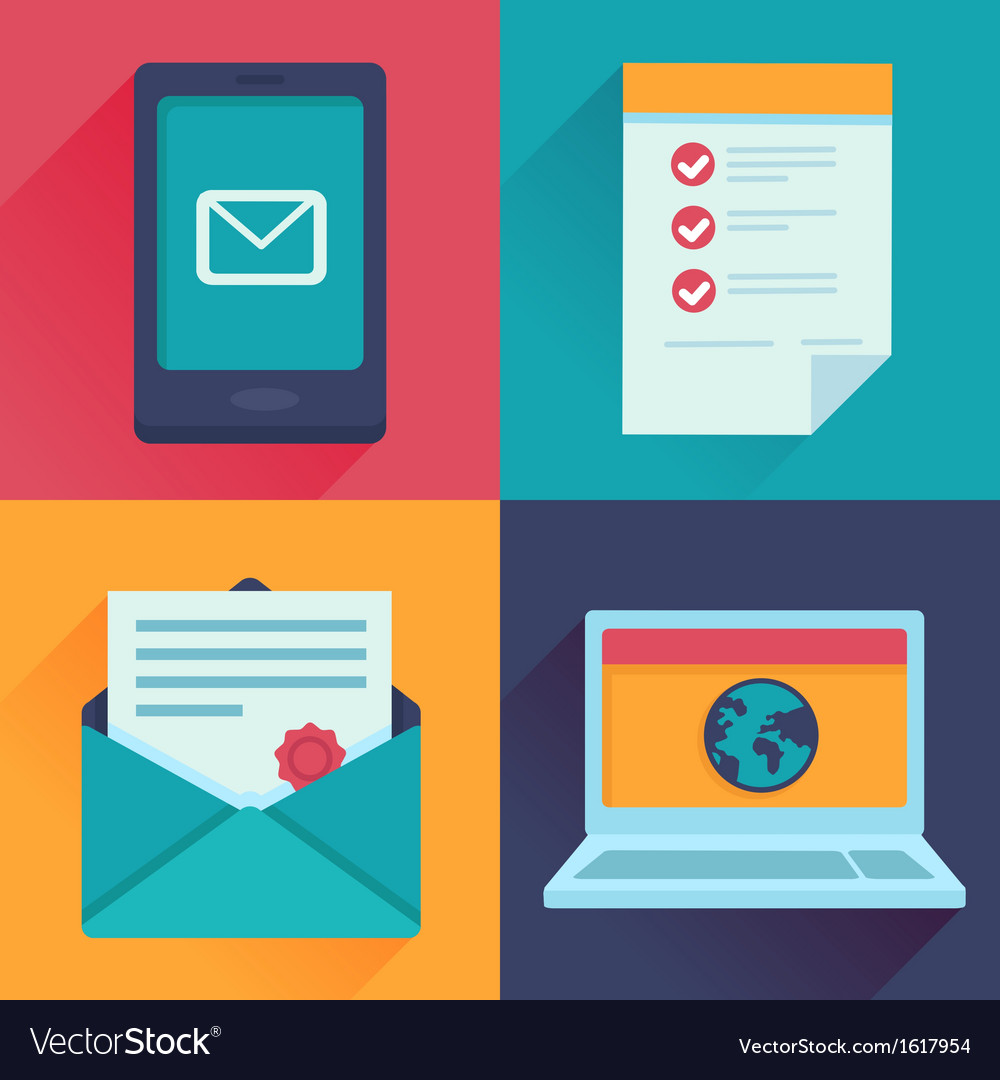 Communication icons in flat retro style vector