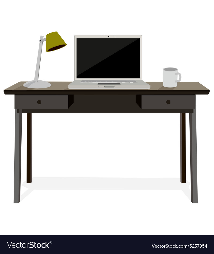 Desk with laptop vector