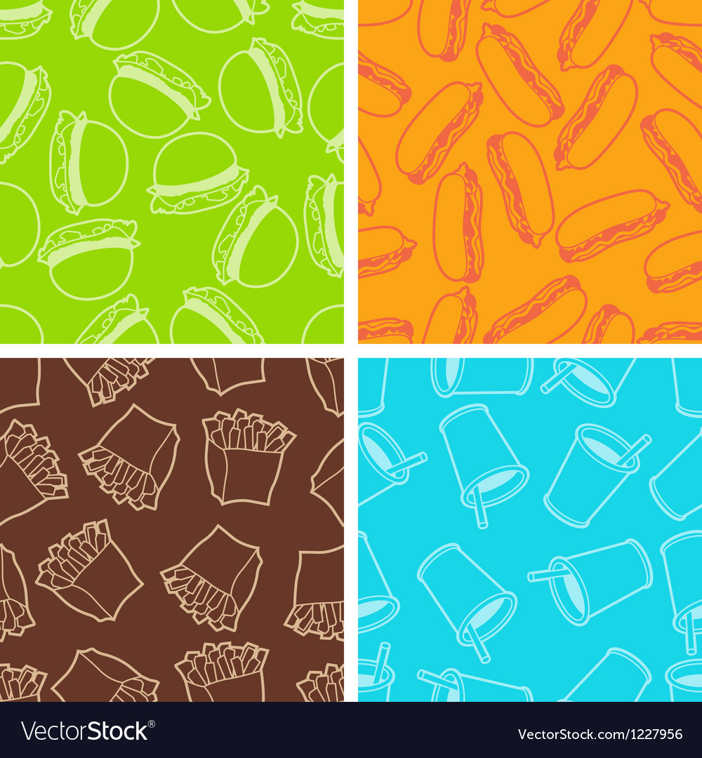 Fast food seamless patterns in retro style vector