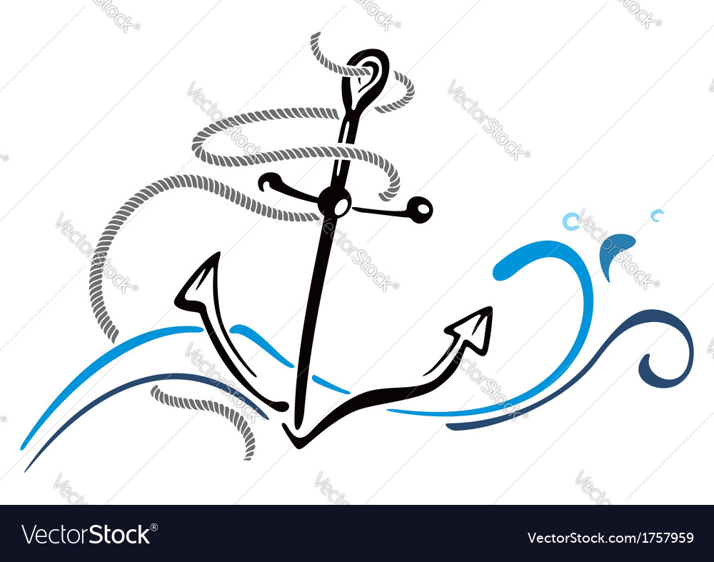 Anchor in sea vector