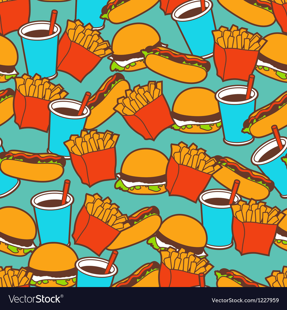 Fast food seamless pattern in retro style vector