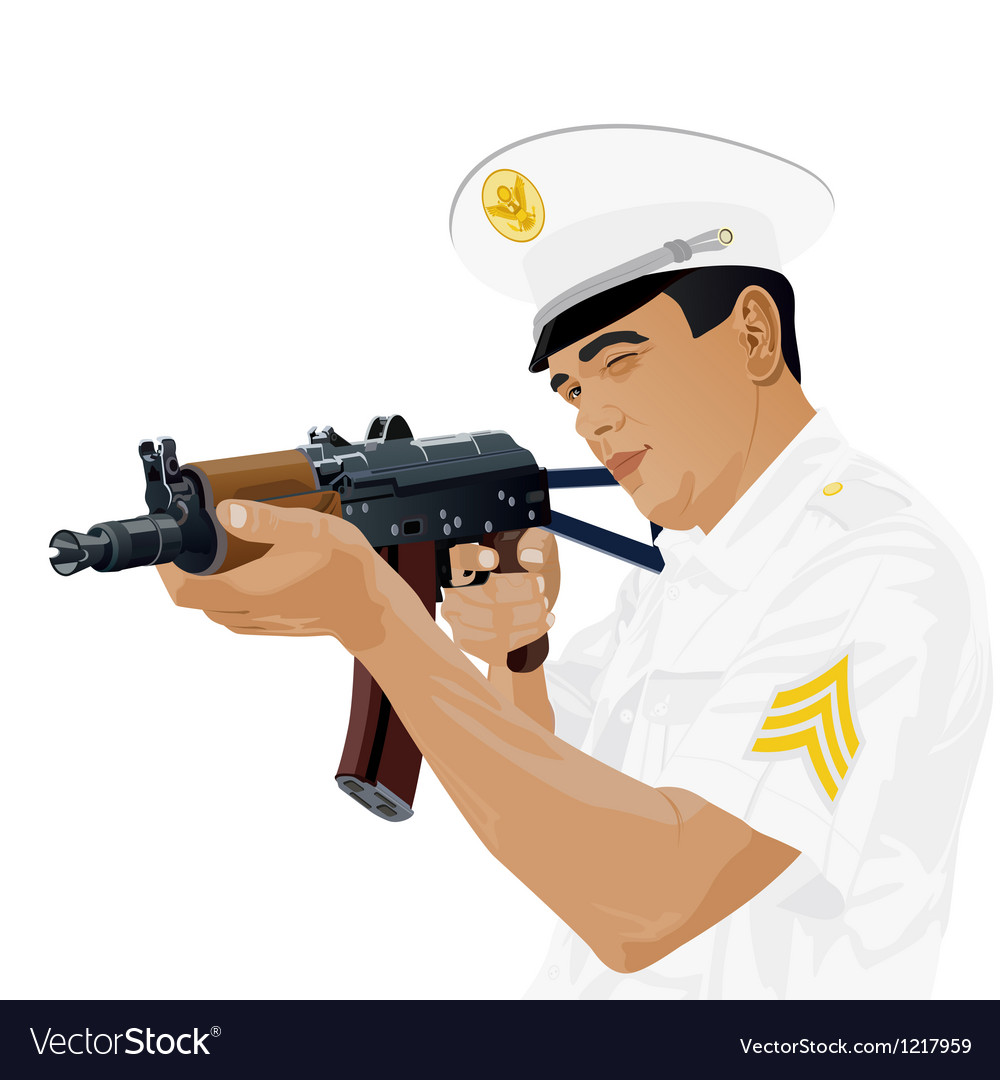 Us military with russian gun vector