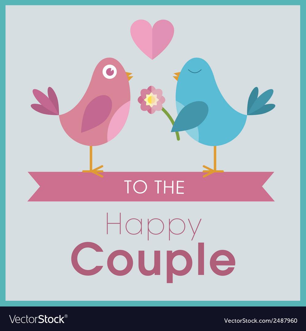 Love birds on a banner wedding card vector
