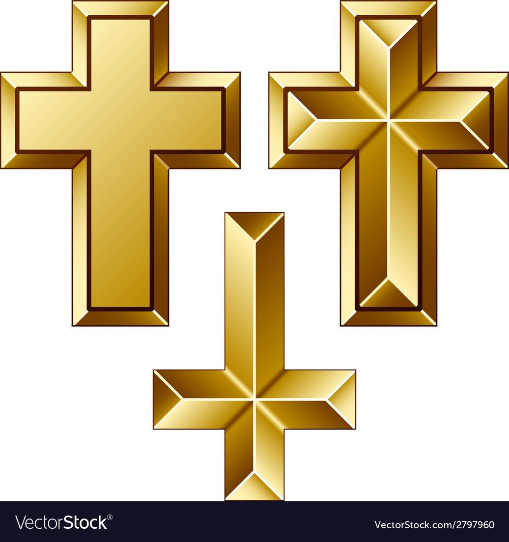 Massive golden christian crosses vector