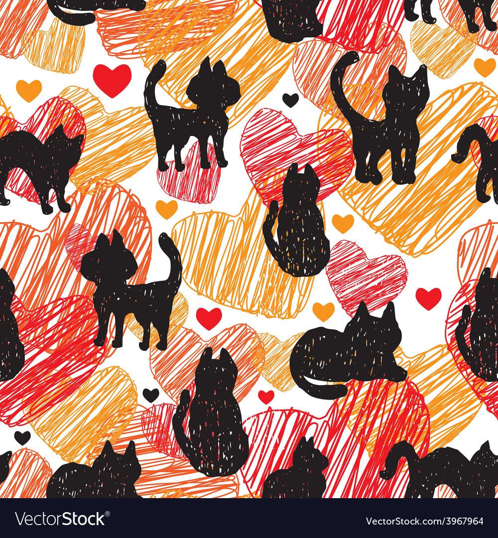 Seamless pattern black silhouettes of cats on vector