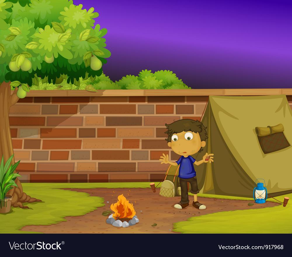 Boy camper vector