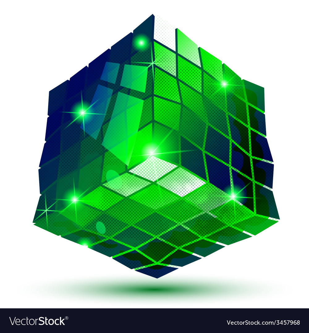 Textured plastic geometric object with flashes vector
