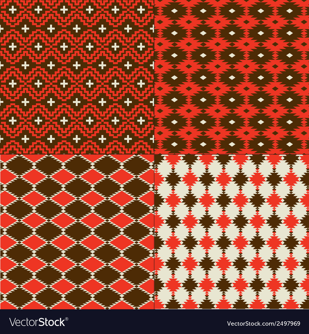 Red native american patterns vector