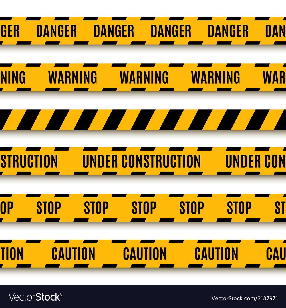 Set of yellow warning tapes vector