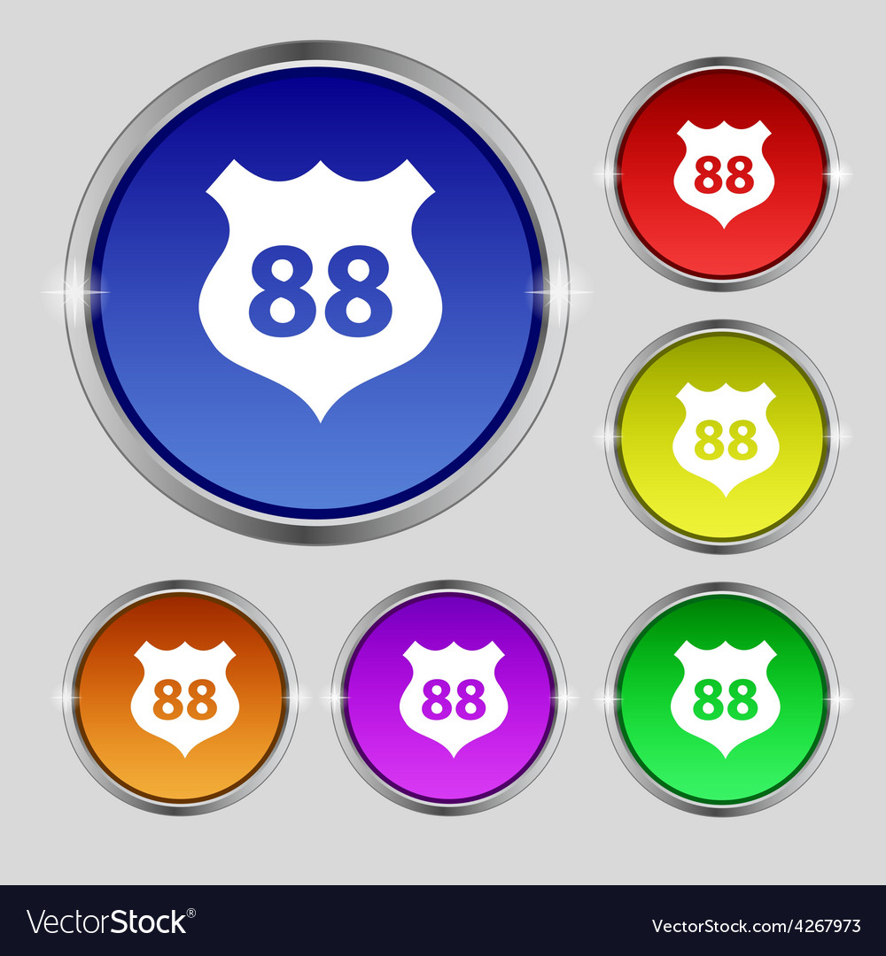 Route 88 highway icon sign round symbol on bright vector