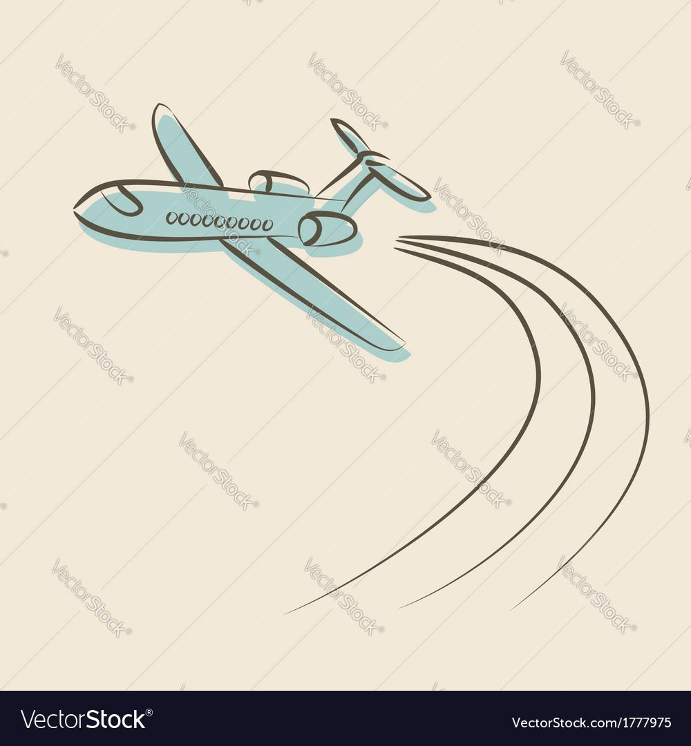 Retro background with plane vector