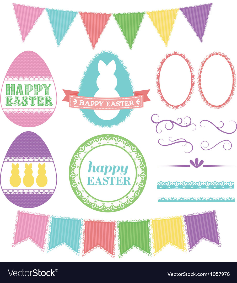 Easter elements lace pack vector