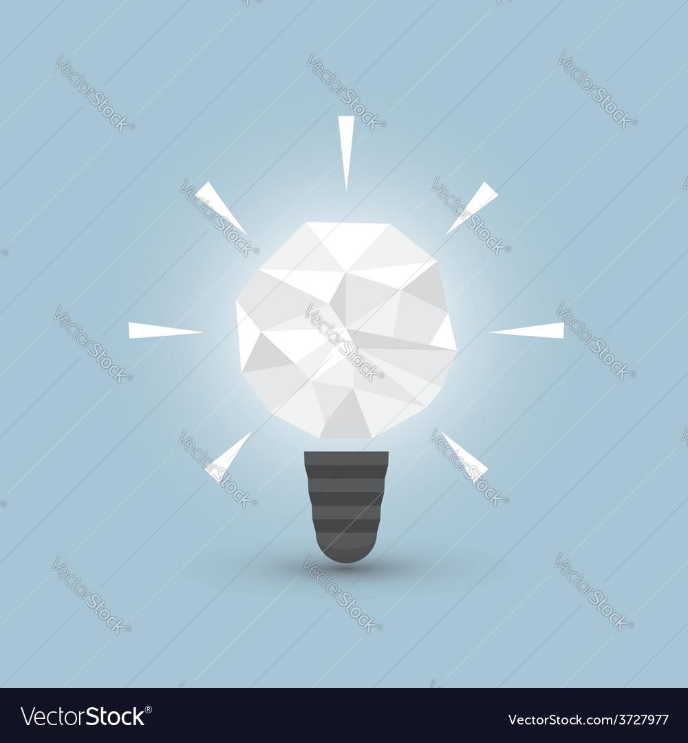Crumpled paper light bulb idea concept vector