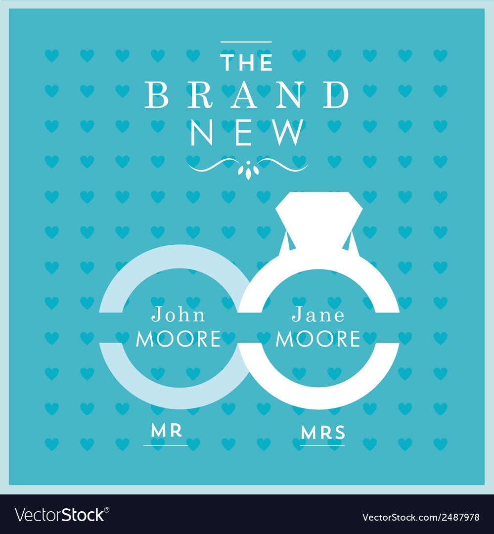 Ring themed wedding card vector
