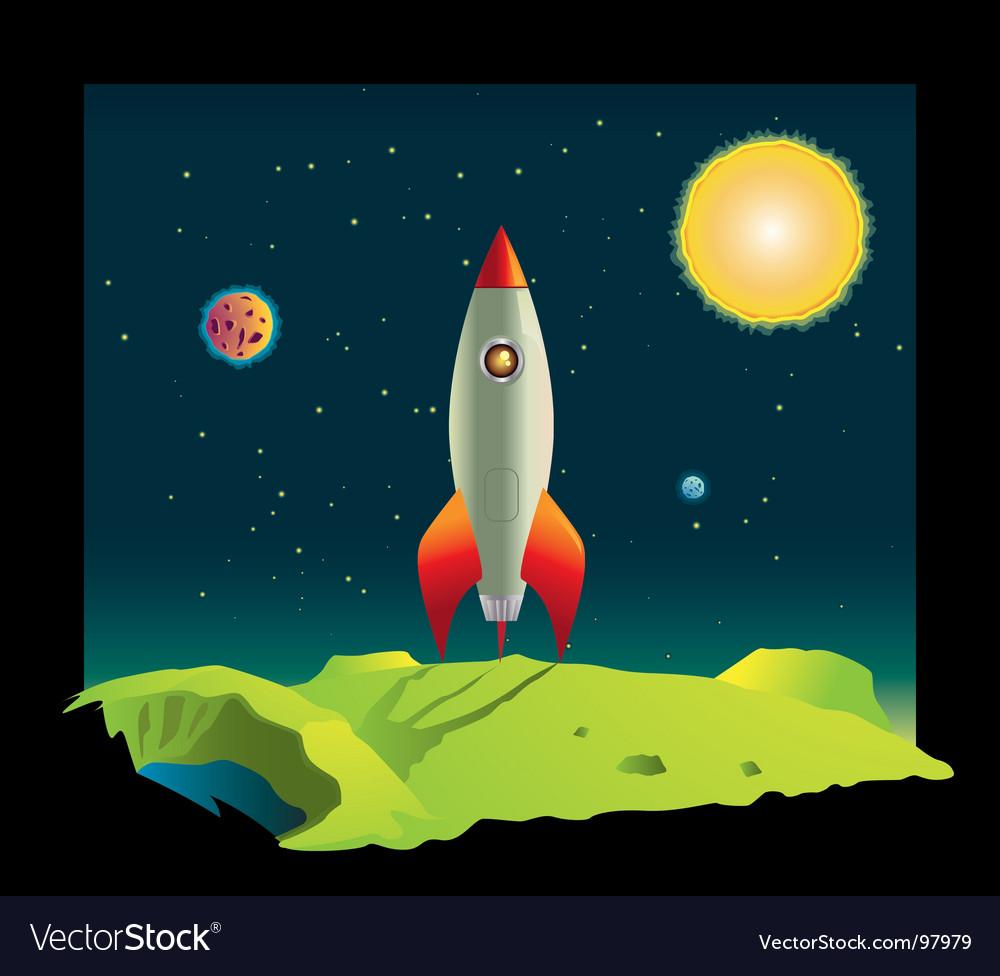 Space rocket in deep space vector