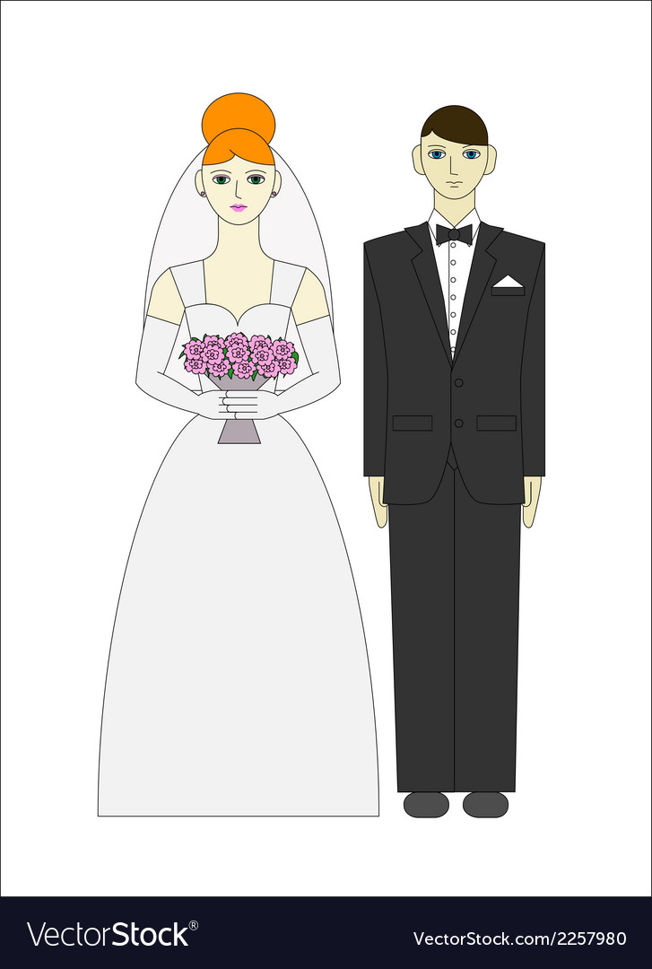 Bride ang groom wedding couple vector