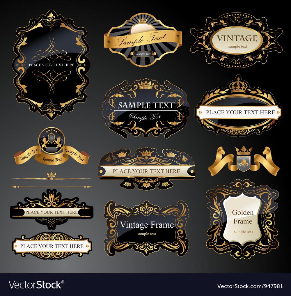 Golden lables vector
