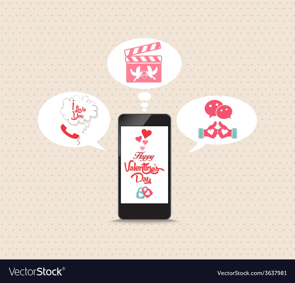 Message valentines lovely frome phone vector
