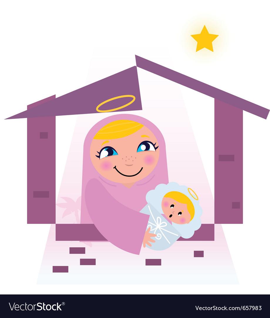 Nativity bethlehem scene vector