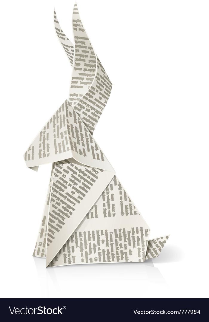 Rabbit paper origami toy vector