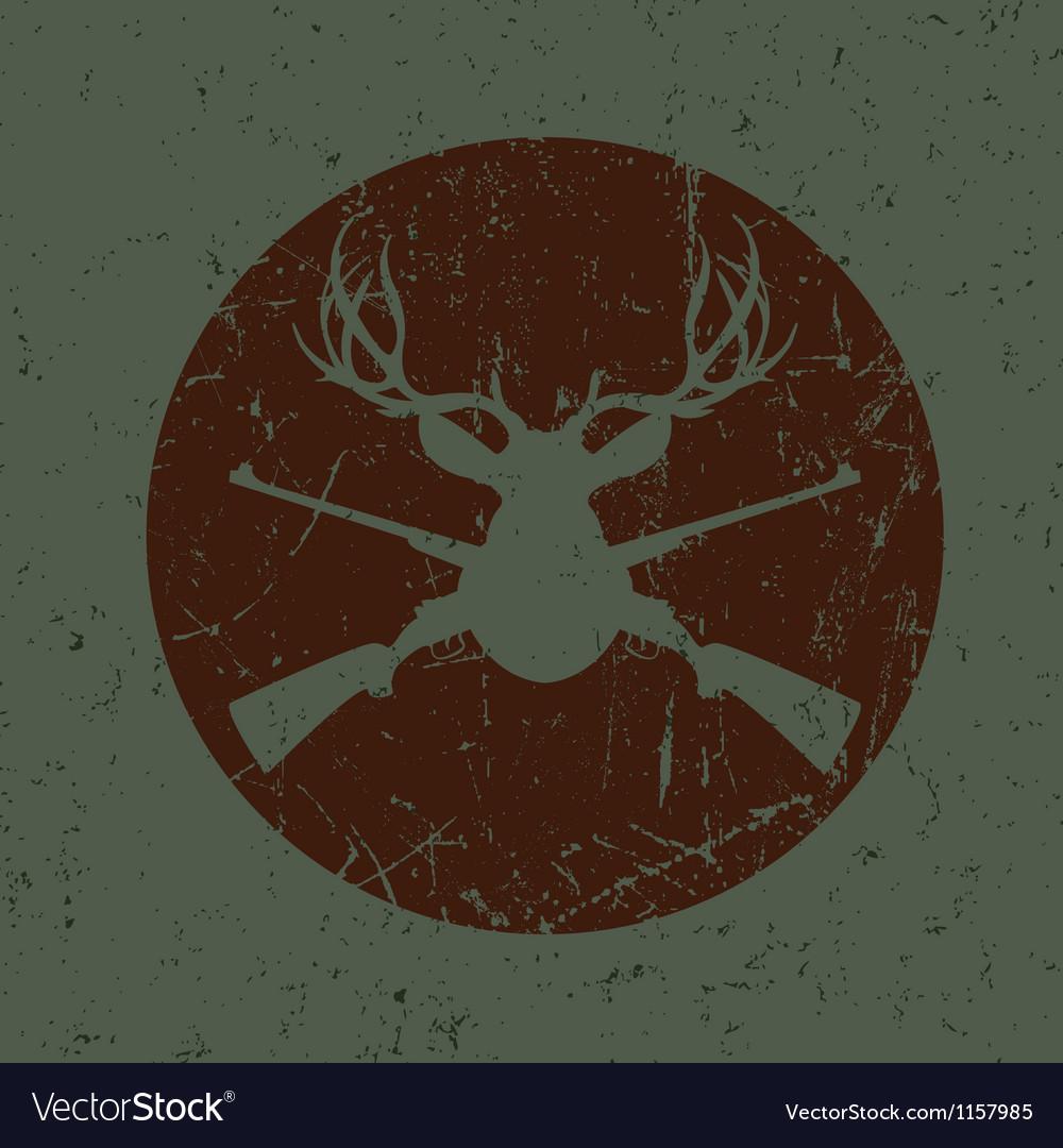 Vintage deer hunter seal vector