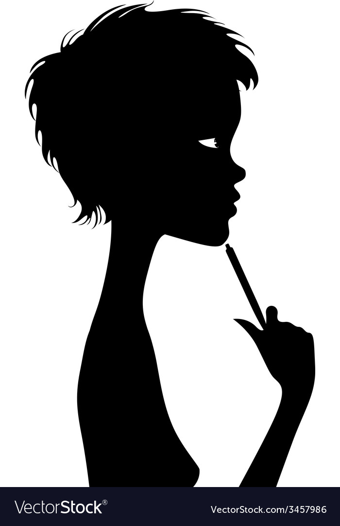Black silhouette of a thinking person with a pen vector